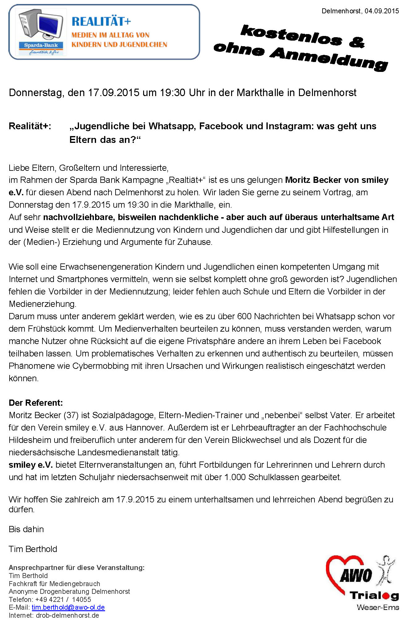 2015.09.04 Einladung zum Infoabend mit Moritz Becker