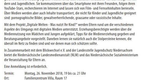 """26.11.2018: Elternberatung in der """"Villa"""""""